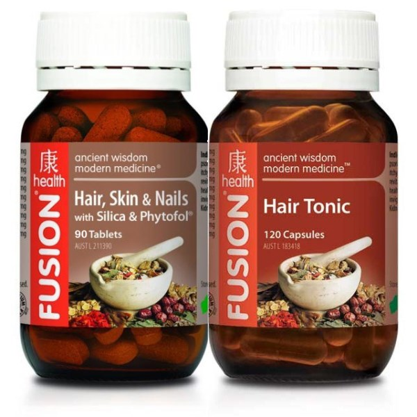 Fusion Health Pack - Hair Tonic 120 Capsules + Hair, Skin & Nails 90